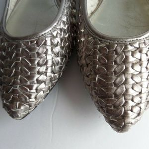 Marc Fisher Shoes - Marc Fisher Woven Silver Pointy Flats Shoes 7.5M